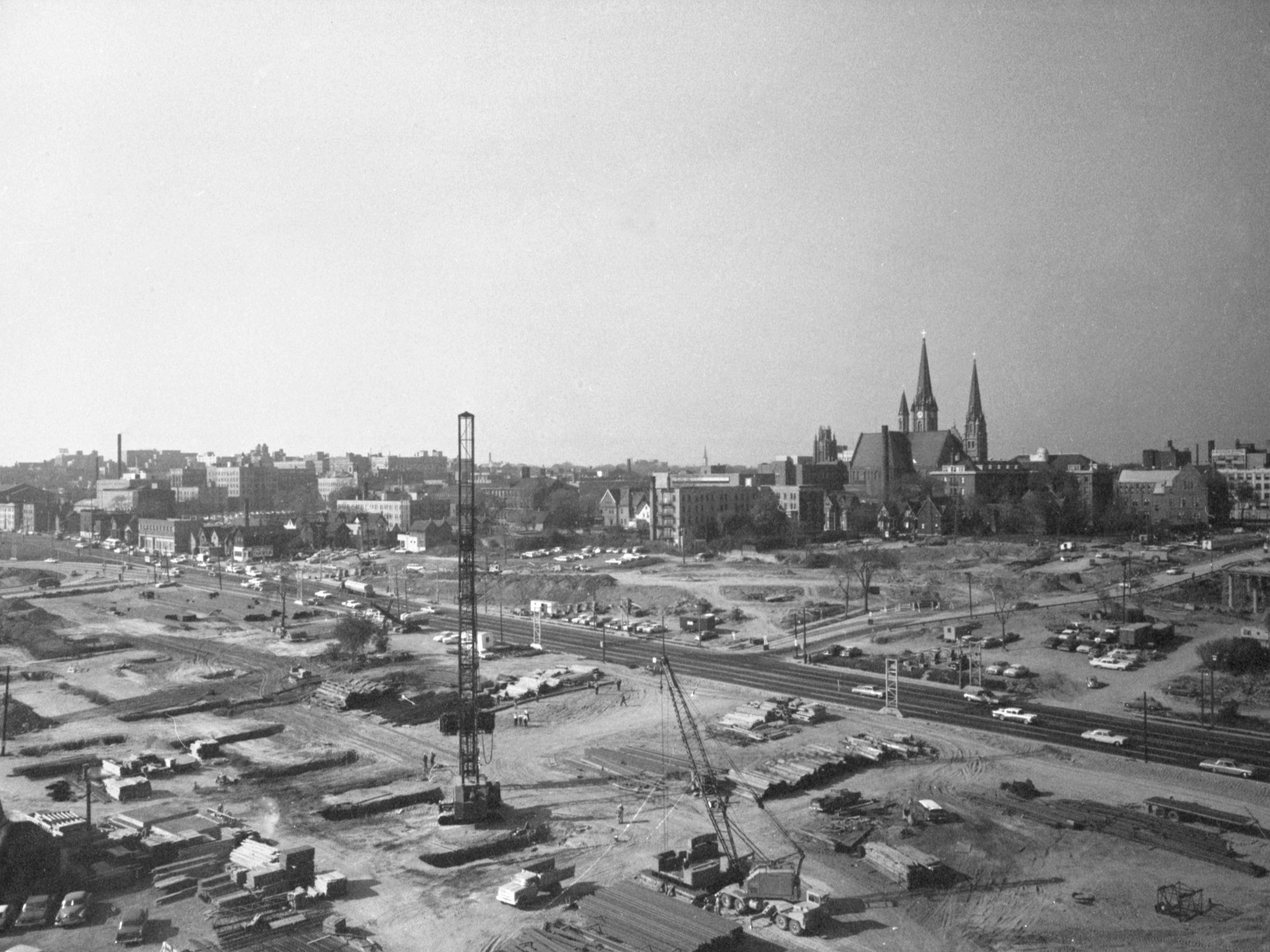 The land south of the Marquette University campus is a massive construction staging area for the Central Interchange and completion of the East-West Freeway connecting to it at the end of 1964. This photo was published in the Dec. 6, 1964, Milwaukee Journal.