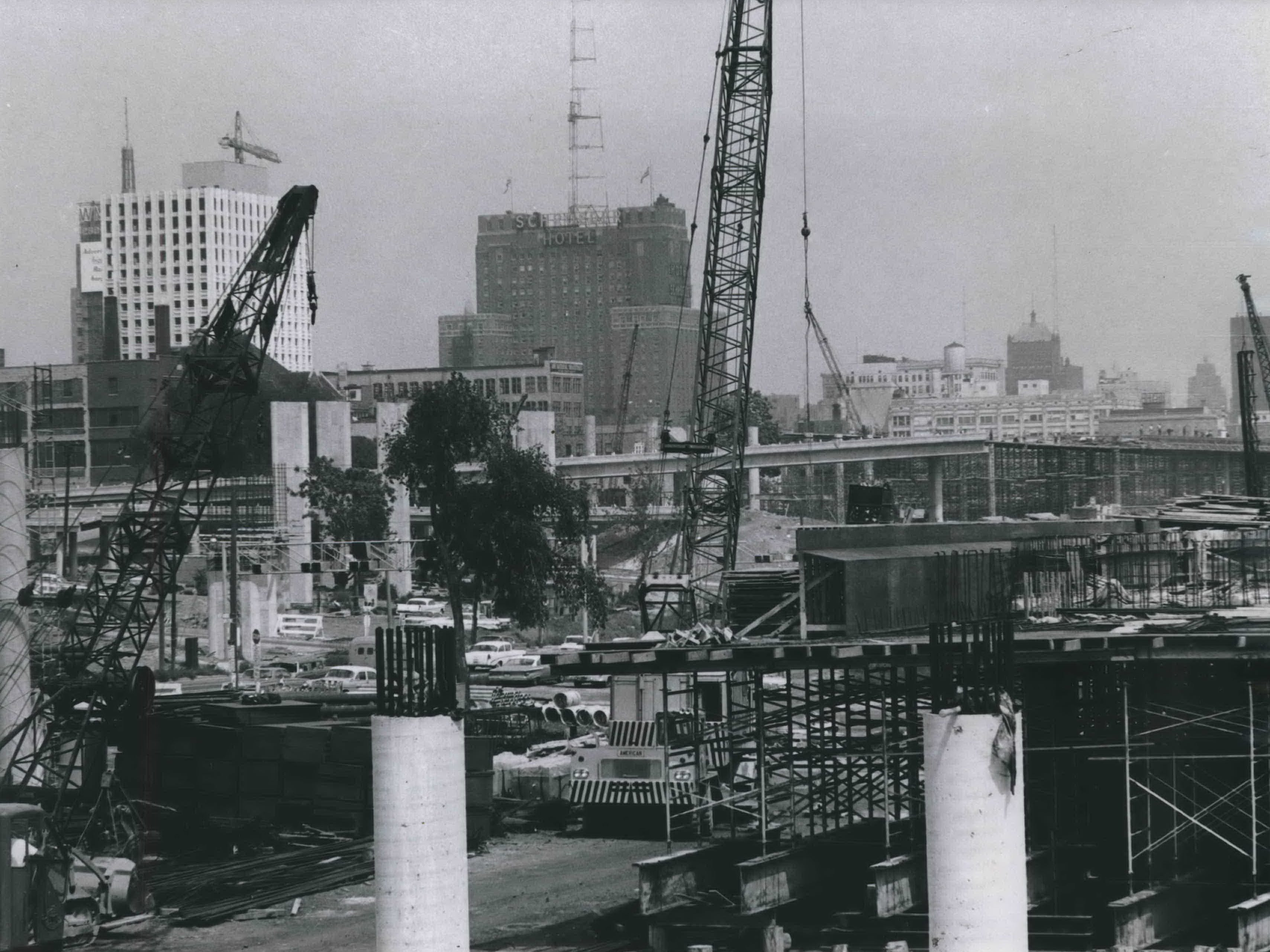 A maze of girders and and pillars takes shape on the footprint of the planned Central Interchange (later the Marquette Interchange) during the summer of 1965. At left was the then-new Greyhound office building, and at the center was the Sheraton-Schroeder Hotel (now the Milwaukee Hilton City Center). This photo was published in the Aug. 5, 1965, Milwaukee Journal.