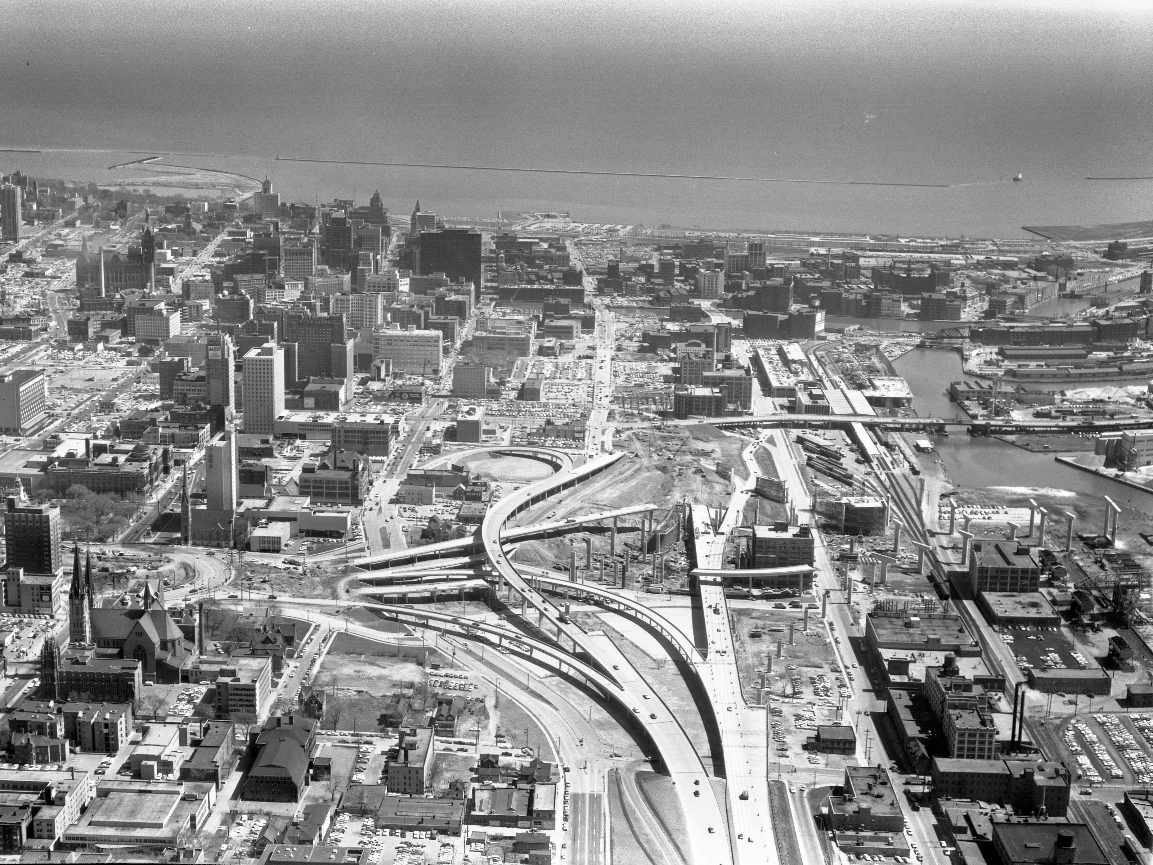 This aerial view shows construction of the Marquette Interchange looking east during 1967.