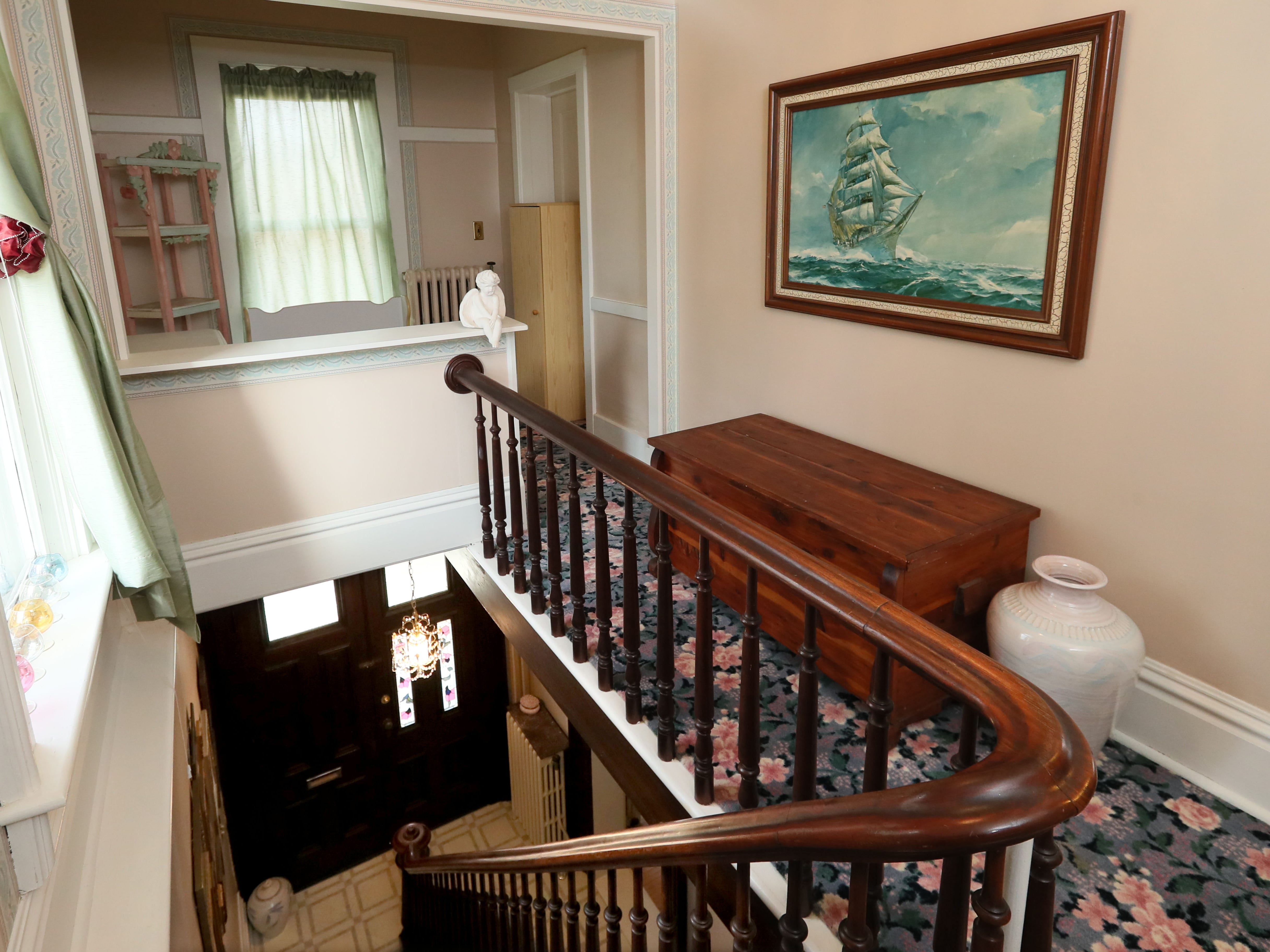 This is one of two staircases leading to the second floor.