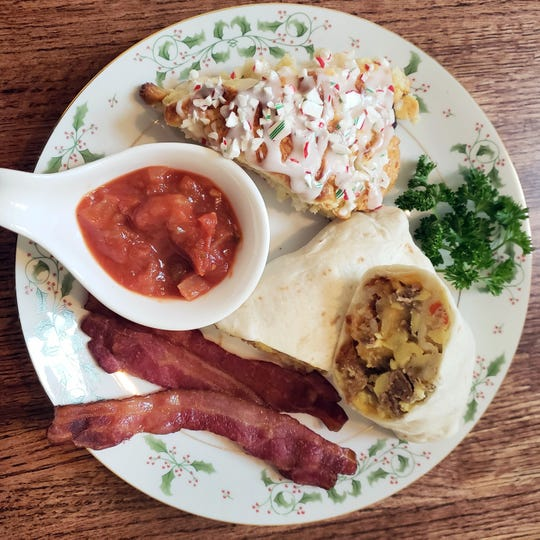 Keto Breakfast Burritos are served with gluten-free white chocolate peppermint scones and Nueske's bacon.