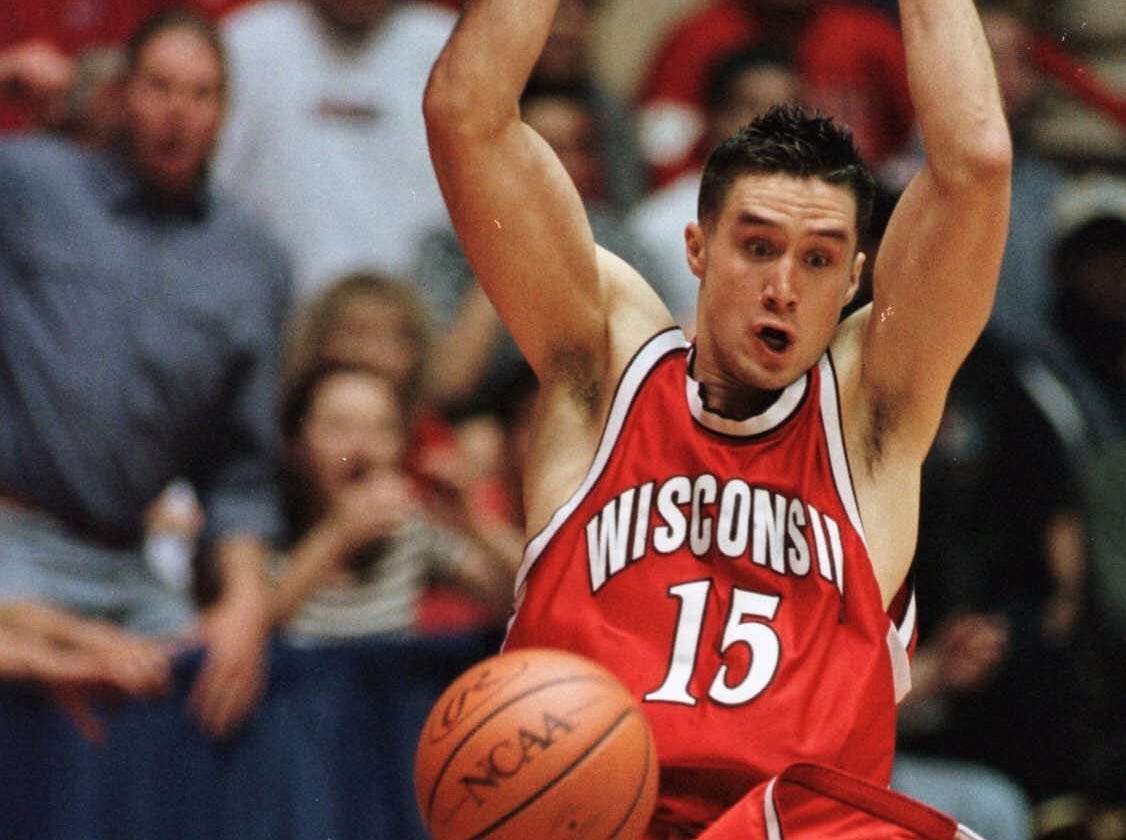 Wisconsin's Andy Kowske slams two points home during the second half against Purdue in the NCAA West finals Saturday, March 25, 2000, in Albuquerque, New Mexico.