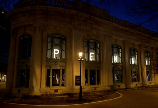 "Windows are lit with the name ""Penny"" at the Milwaukee County historical Society on East Kilbourn Avenue In honor of Penny Marshall's death on Tuesday, Dec. 18, 2018. Photo by Mike De Sisti / The Milwaukee Journal Sentinel"