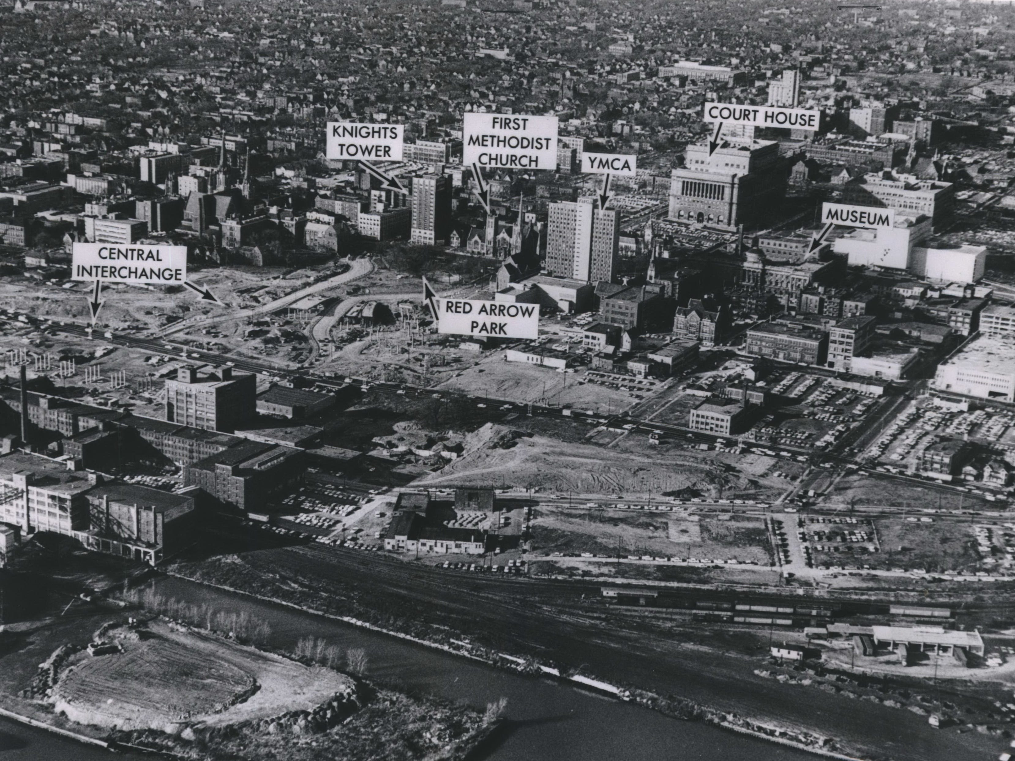 This aerial view of Milwaukee's downtown before construction began in 1964 shows how much the landscape was about to change. At the center of the photo is Red Arrow Park and First Methodist Church, both of which would be removed to make way for the High-Rise Bridge and connecting to the Marquette Interchange. This photo illustratoin was published in the Nov. 24, 1964, Milwaukee Journal.