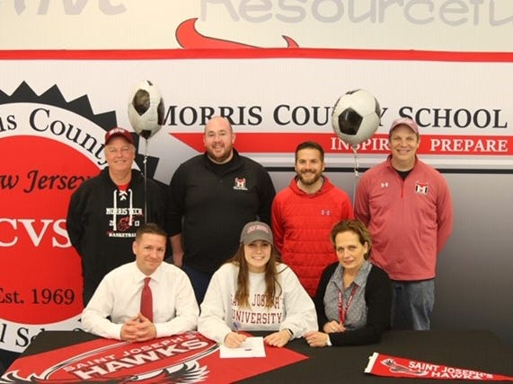 Morris Tech goalkeeper Emily Cuccio signed a National Letter of Intent with St. Joseph's women's soccer on Dec. 17.