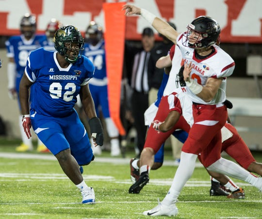 Mississippi all-star West Jones' Byron Young (92) rushes the quarterback during the Alabama-Mississippi all-star game at Cramton Bowl in Montgomery, Ala., on Monday, Dec. 17, 2018.