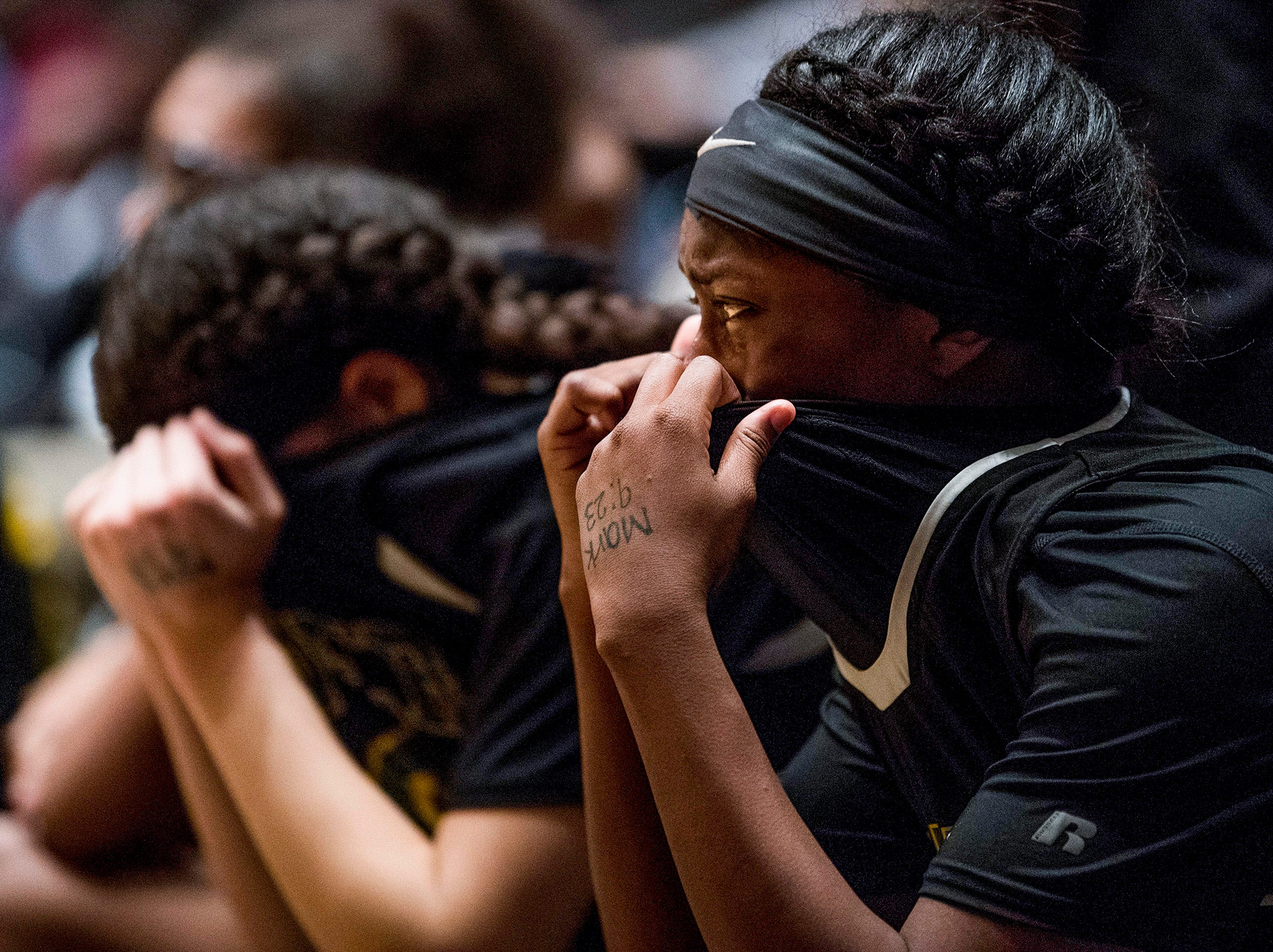Carver players watch as time runs out in their loss to Blount at the AHSAA Regional Tournament in Dothan, Ala., on Friday February 16, 2018.