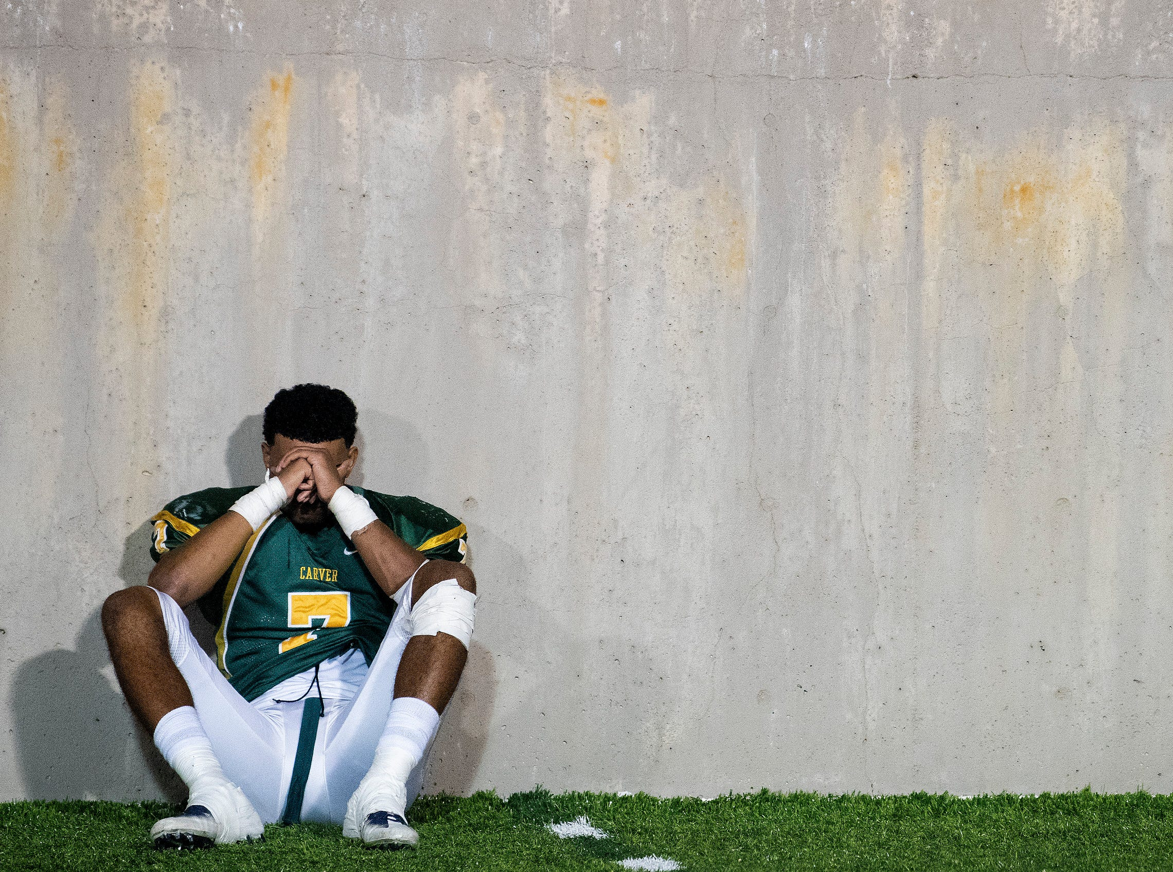 Carver's Anthony Scott (7) after losing to Park Crossing in overtime at Cramton Bowl in Montgomery, Ala., on Friday October 26, 2018.
