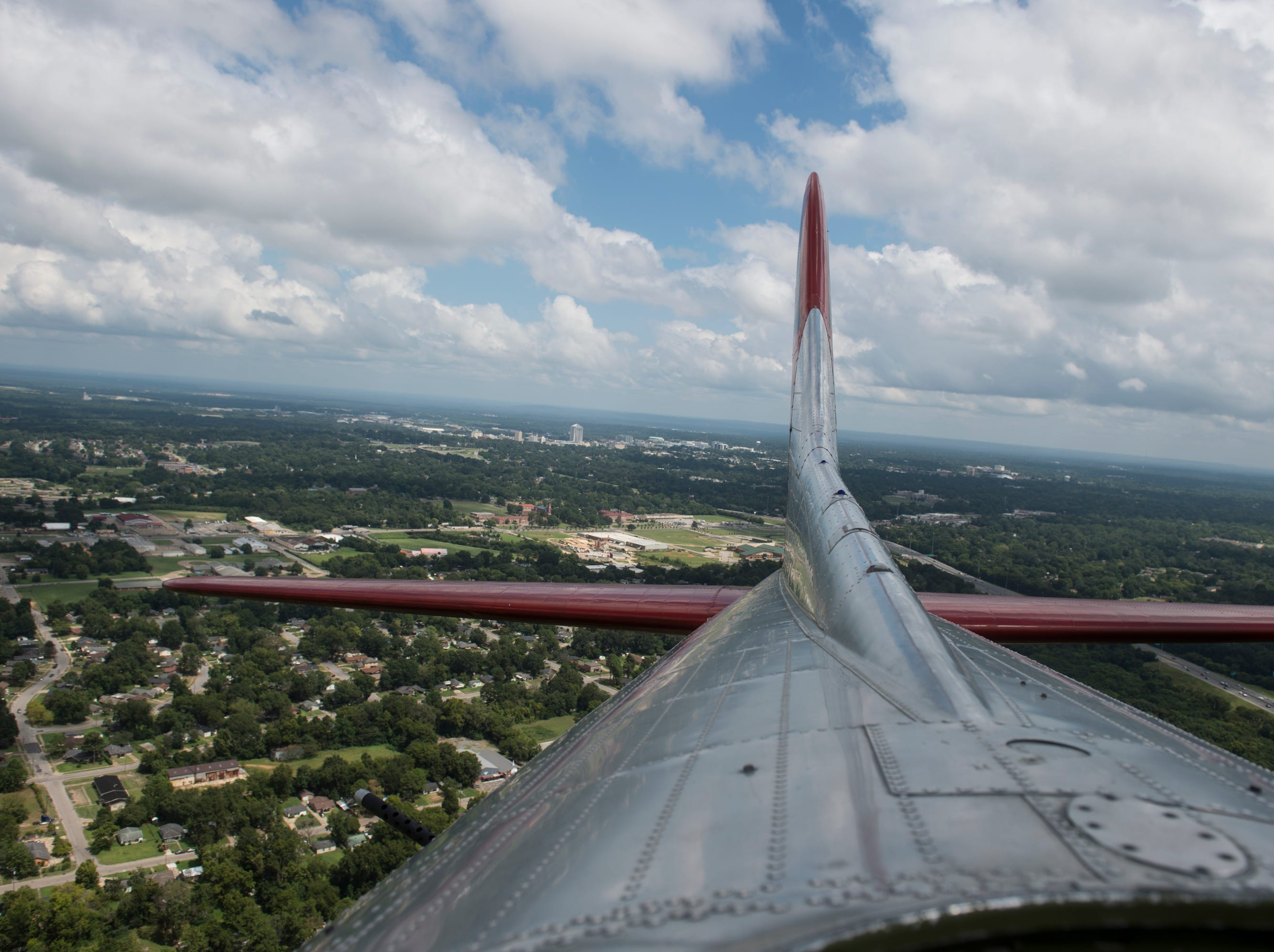 The view of downtown Montgomery from a Boeing B-17 bomber plane in Montgomery, Ala., on Monday, Sept. 3, 2018.
