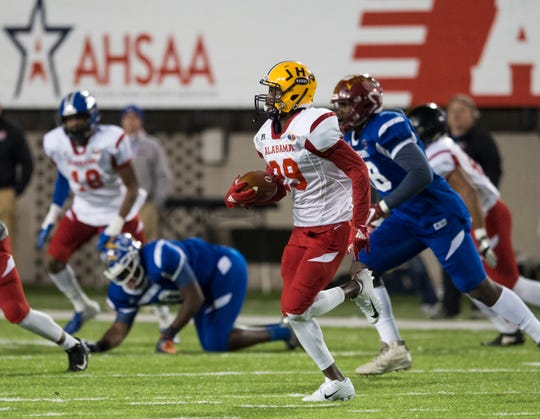 Alabama all-star Jackson's Nehemiah Pritchett (29) returns the ball after an interception during the Alabama-Mississippi all-star game at Cramton Bowl in Montgomery, Ala., on Monday, Dec. 17, 2018.