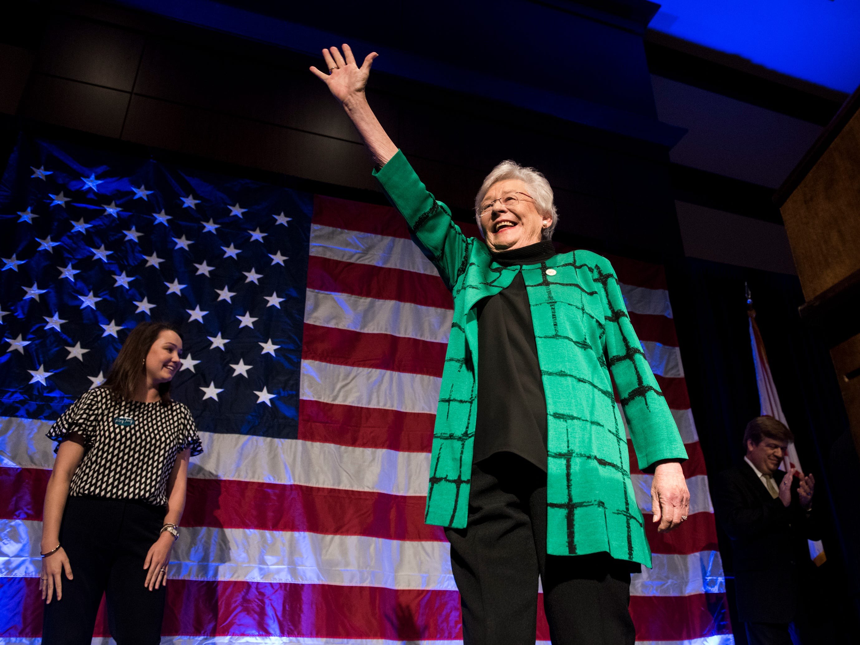 Gov. Kay Ivey delivers her acceptance speech at the Renaissance Hotel in Montgomery, Ala., on Tuesday, Nov. 6, 2018.