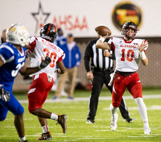 Alabama's Bo Nix of Pinson Valley passes during the Alabama Mississippi All-Star Football game held at Cramton Bowl in Montgomery, Ala., on Monday December 17, 2018.