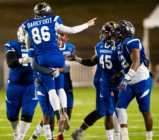 Mississippi's Tucker Barefoot of Clinton is carries off the field after kicking a field goal late in the Alabama Mississippi All-Star Football game held at Cramton Bowl in Montgomery, Ala., on Monday December 17, 2018.