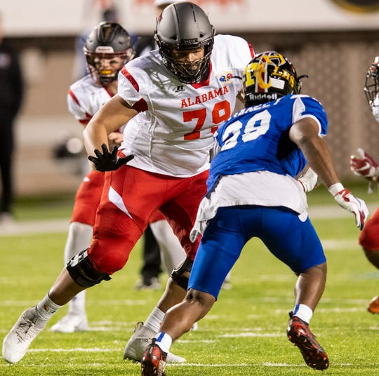 Alabama's Amari Kight of Thompson (79) during the Alabama Mississippi All-Star Football game held at Cramton Bowl in Montgomery, Ala., on Monday December 17, 2018.