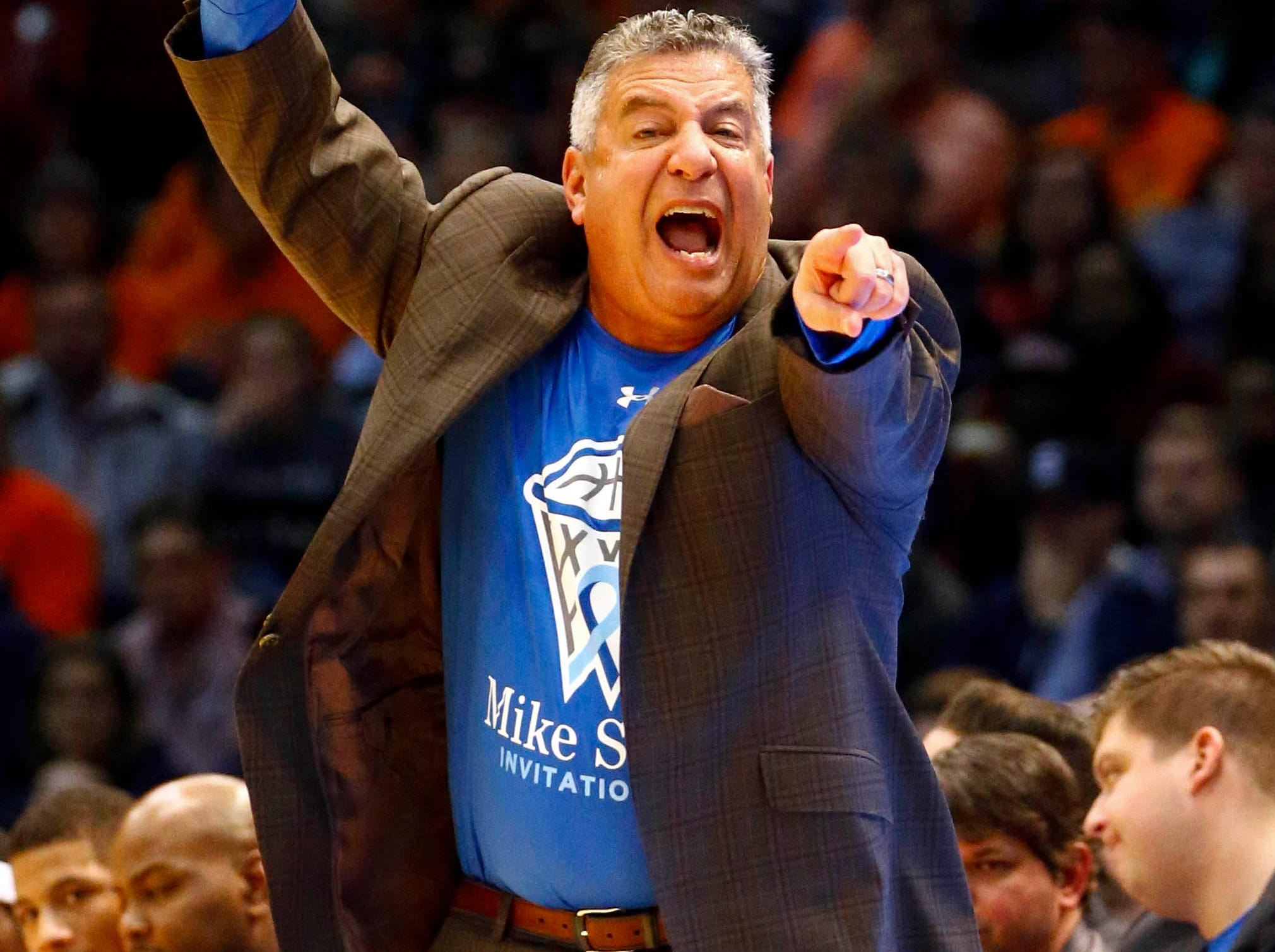 Dec 15, 2018; Birmingham, AL, USA; Auburn Tigers head coach Bruce Pearl reacts to a call during an NCAA basketball game against the UAB Blazers at Legacy Arena. Mandatory Credit: Butch Dill-USA TODAY Sports