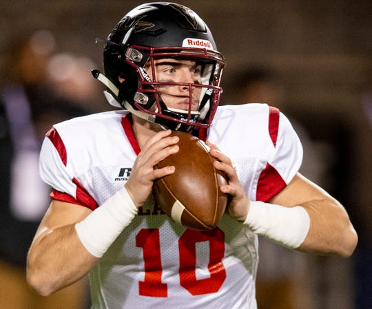 Alabama all-star Pinson Valley's Bo Nix (10) looks to pass during the Alabama Mississippi All-Star Football game held at Cramton Bowl in Montgomery, Ala., on Monday December 17, 2018.