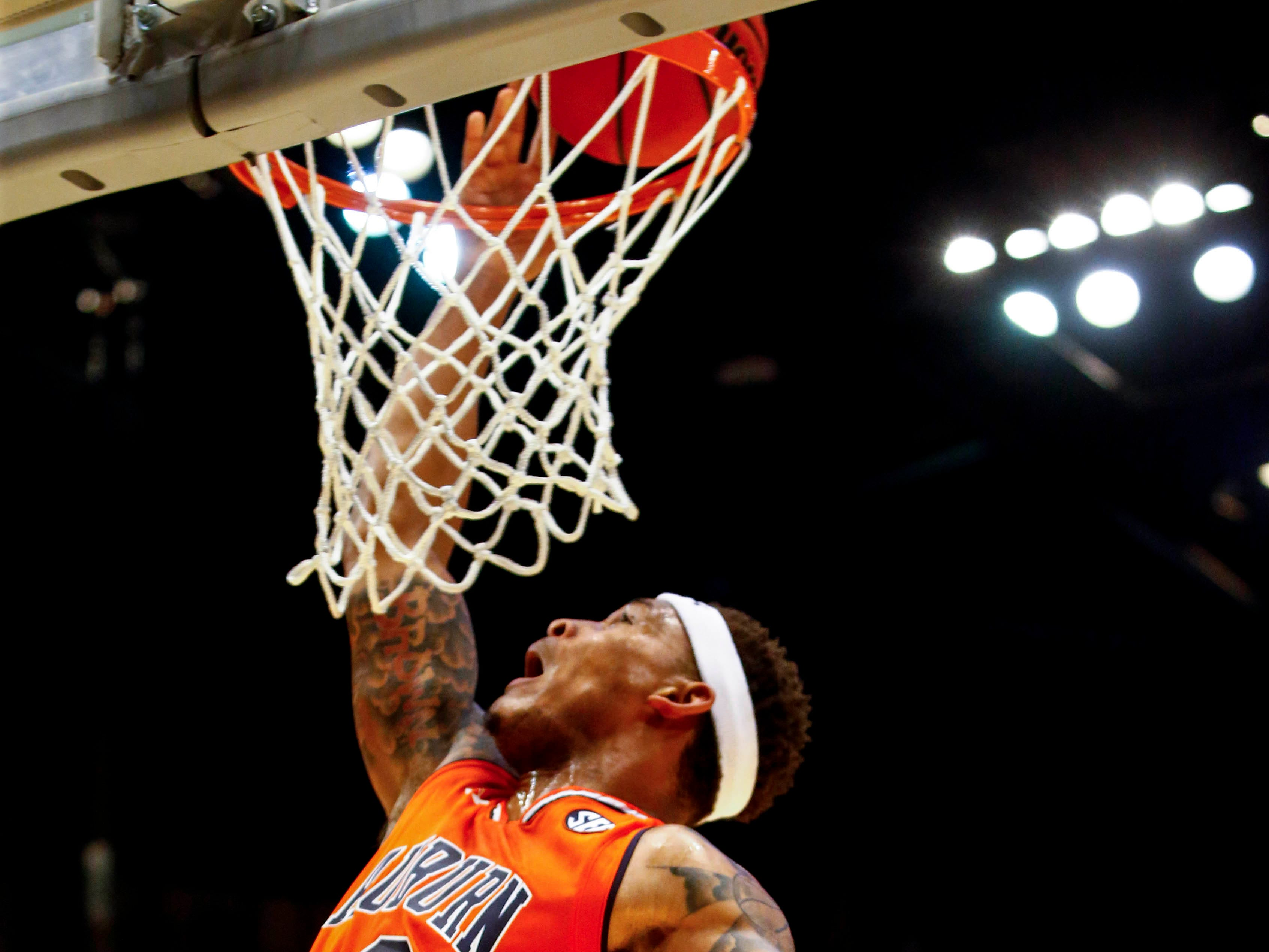 Dec 15, 2018; Birmingham, AL, USA; Auburn Tigers guard Bryce Brown (2) slam dunks the ball in a NCAA basketball game against the UAB Blazers at Legacy Arena. Mandatory Credit: Butch Dill-USA TODAY Sports