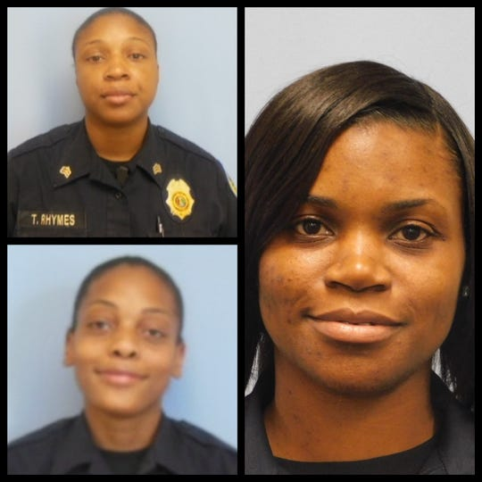 Clockwise, from top left, Tawanda Rhymes, Tomisha Hyman and Tiffany Grey were charged this week with use of office for personal gain in Alabama prisons.