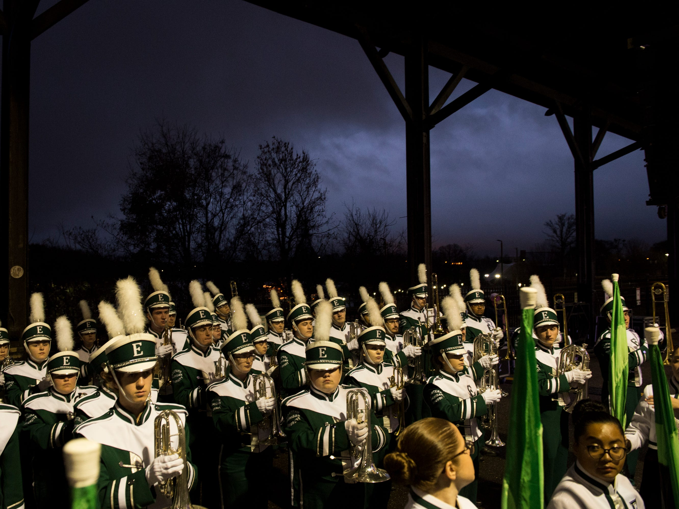 The Eastern Michigan Marching Band prepares to play during an Eastern Michigan pep rally at the Union Station Train Shed in Montgomery, Ala., on Friday, Dec. 14, 2018.  Eastern Michigan will take on Georgia Southern in the Camellia Bowl on Saturday.