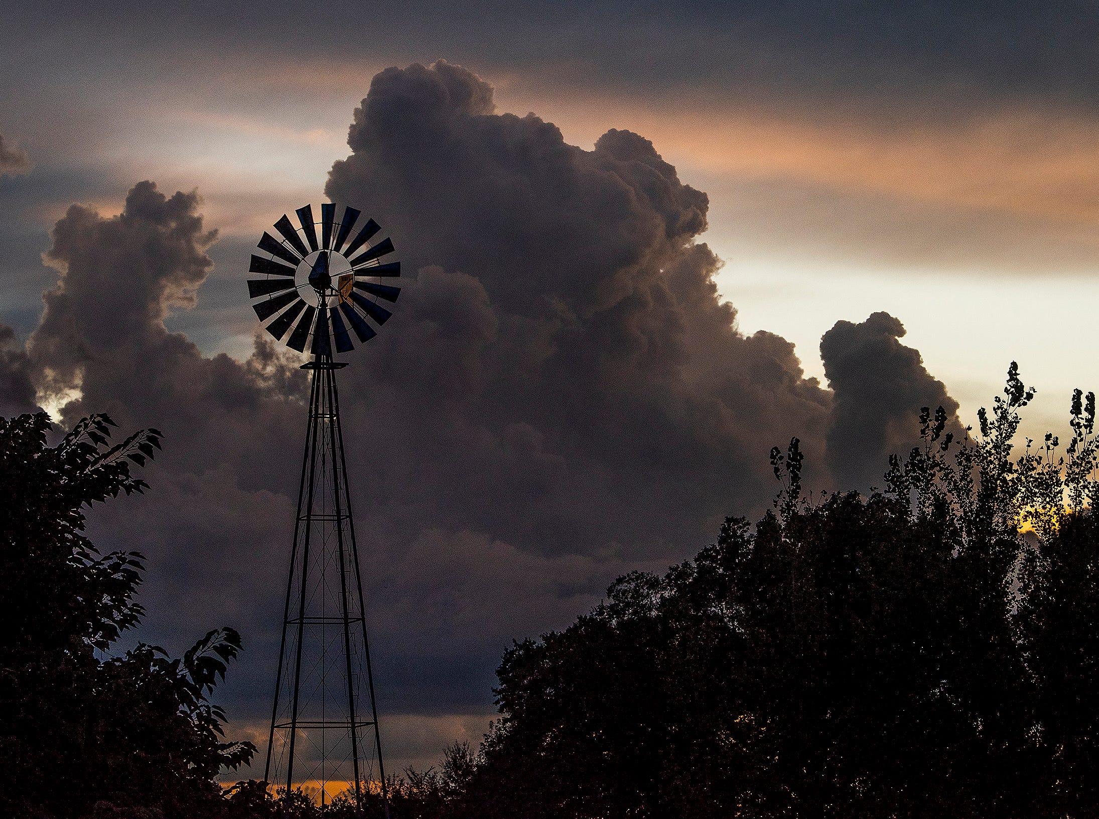 Storm clouds at sunset at the Eat South farm in downtown Montgomery, Ala., on August 28, 2018.