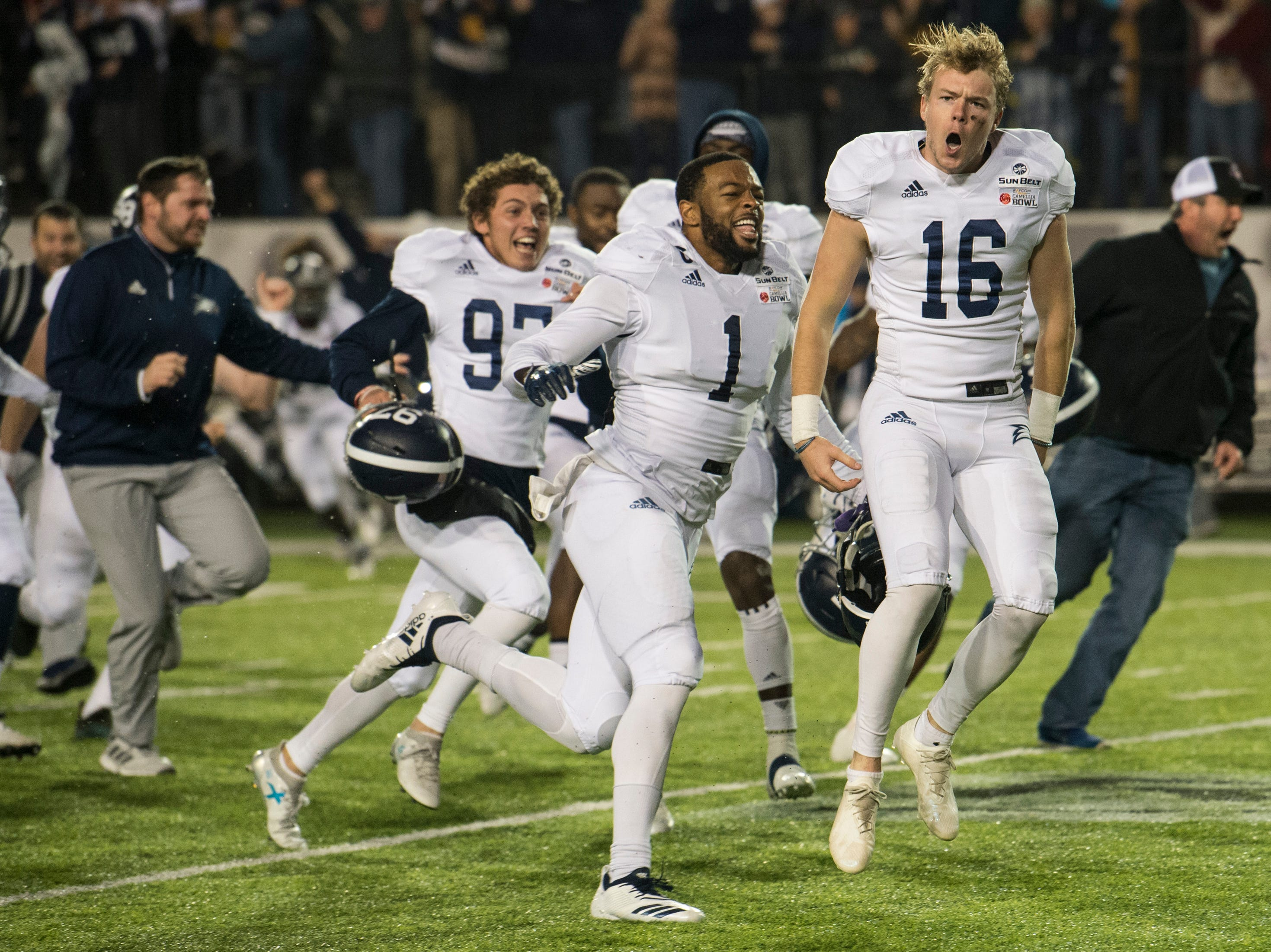 Georgia Southern placekicker Tyler Bass (16) celebrates after kicking the game winning field goal during the Camellia Bowl at Cramton Bowl in Montgomery, Ala., on Saturday, Dec. 15, 2018. Georgia Southern defeated Eastern Michigan 23-21.