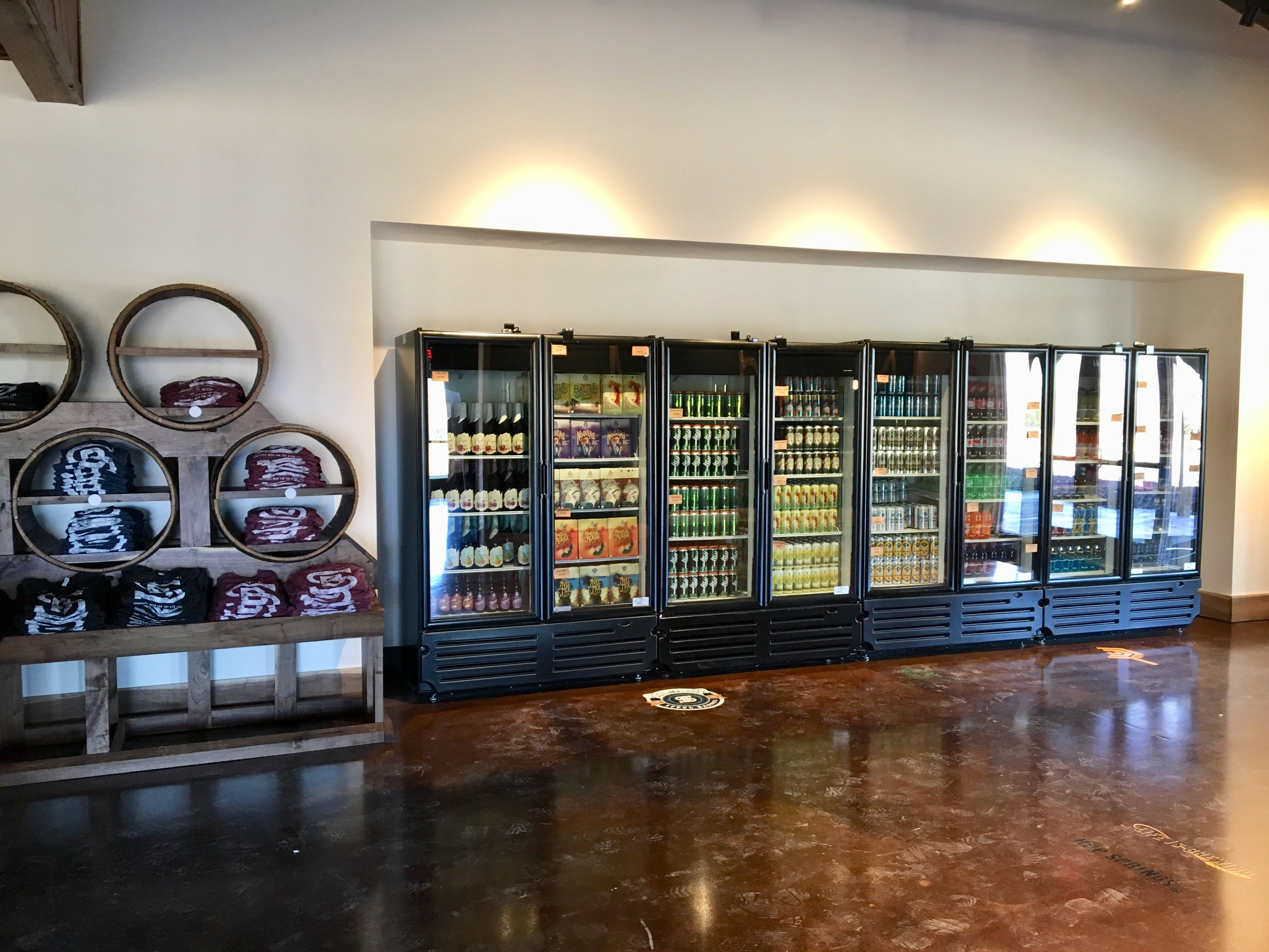 Can't stay for a beer at Hop Springs Taproom? Take brews to go from the cooler. There will also be plenty of apparel and merchandise to purchase.