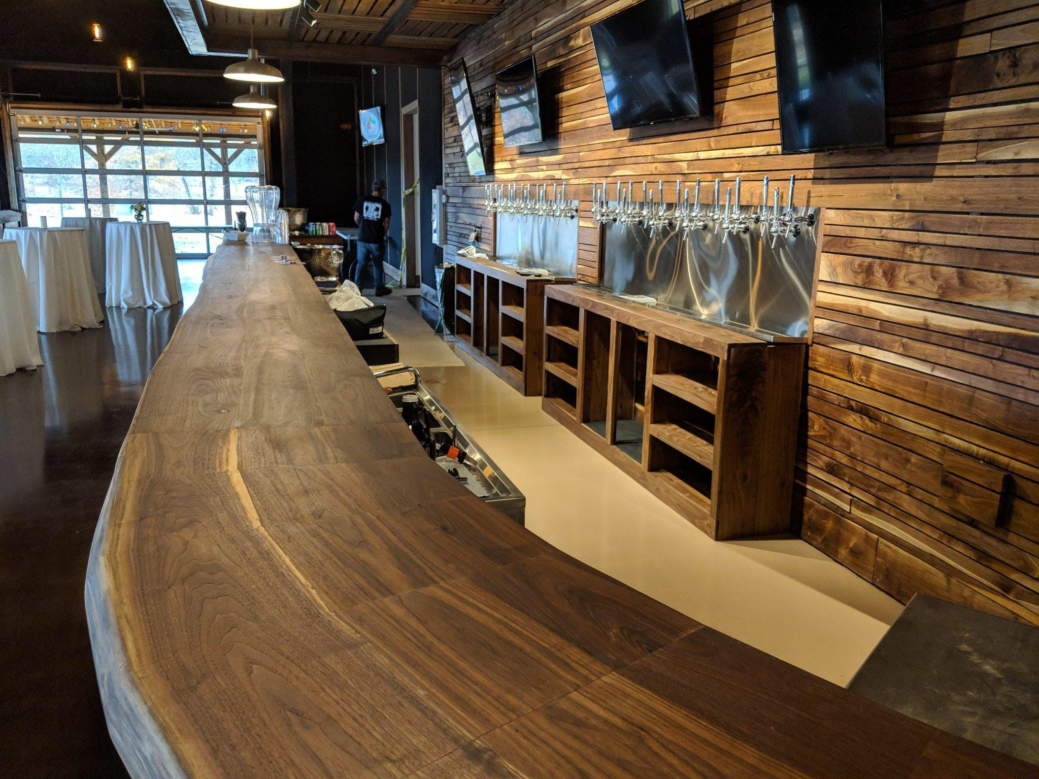 Walnut used in the interior of Hop Springs Taproom was milled on site from trees harvested at the 83-acre property.