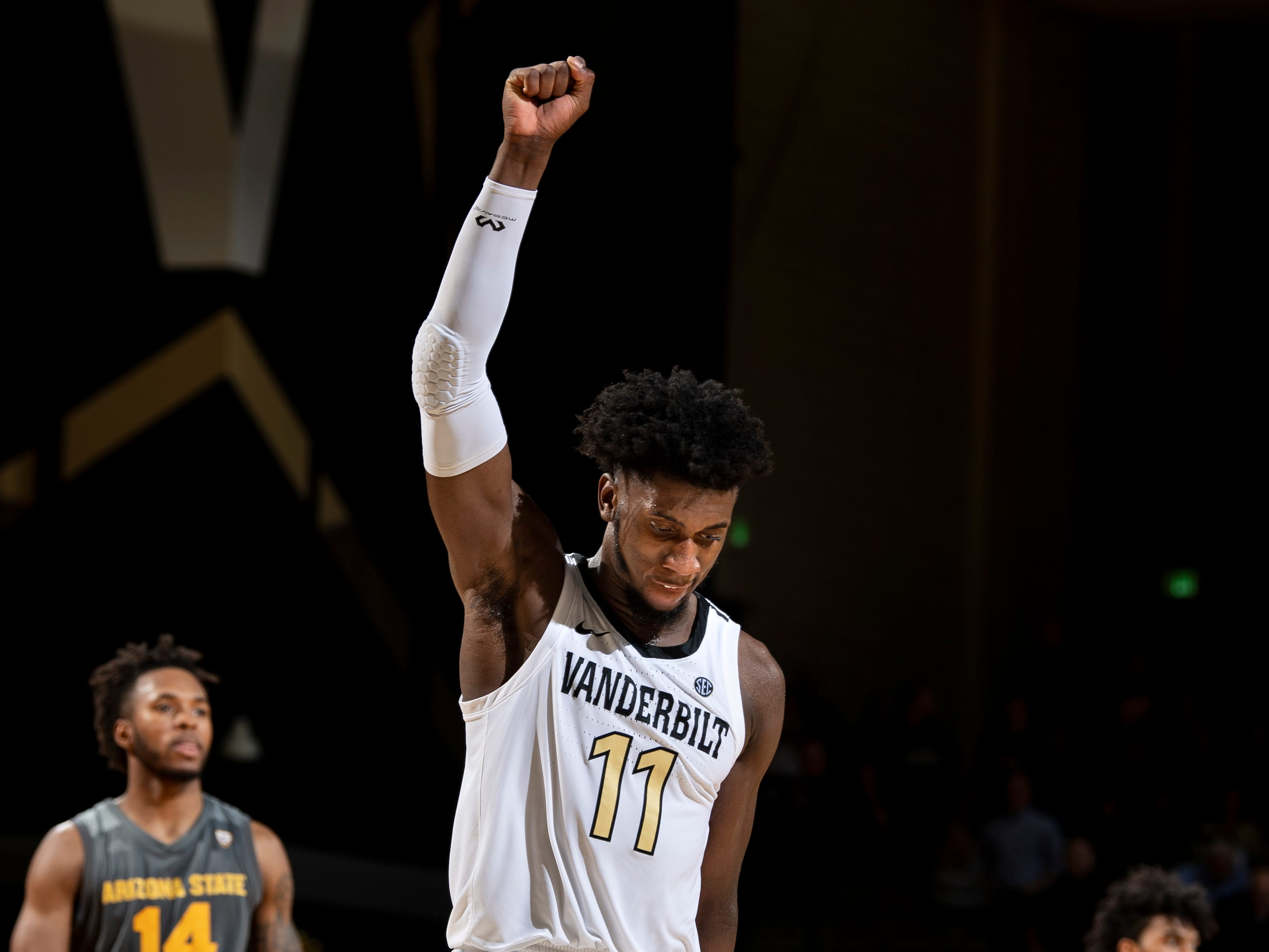 Vanderbilt forward Simisola Shittu (11) reacts to their victory against Arizona State at Memorial Gym in Nashville, Tenn., Monday, Dec. 17, 2018.