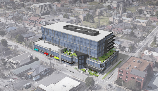 An early conceptual rendering of Hall Emery's planned seven-story, 164,000 square-foot office building at 17th and Grand avenues.
