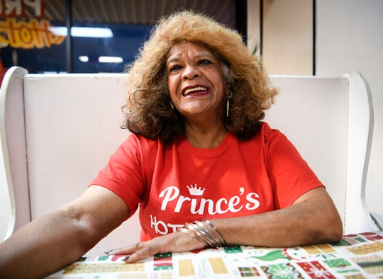 Andre Prince Jeffries owner of Prince's Hot Chicken laughs as she tells the history of her family's restaurant Tuesday, Dec. 11, 2018, in Nashville, Tenn.