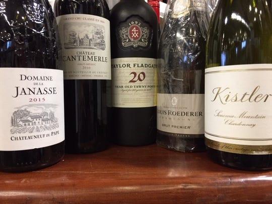 Domaine de la Janasse2015, $5;Chateau Cantemerle 2010,$100;Taylor 20-year Tawny Port,$60; Louis Roderer non-vintage Brut,$60; Kistler Sonoma MountainChardonnay2016,$80.