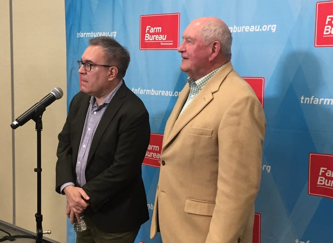 "Andrew Wheeler, acting administrator of the U.S. Environmental Protection Agency and Secretary of Agriculture Sonny Perdue speak to reporters about ""Waters of the United States"" at the Wilson County Exposition Center Tuesday morning."