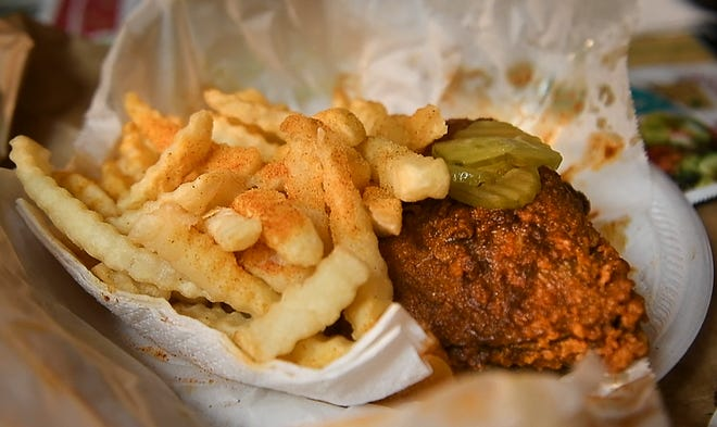 Hot Chicken from Prince's Hot Chicken restaurant  Tuesday, Dec. 11, 2018, in Nashville, Tenn.