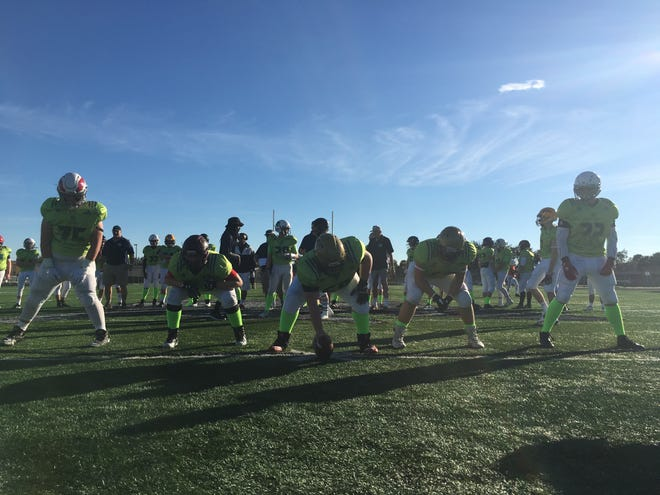 Massachusetts Elite's eighth-grade team features one of the biggest offensive lines in the FBU National Championship. The five linemen average around 6-foot and 260 pounds.