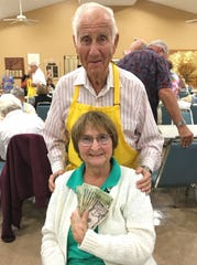 Nelson, pictured with Bingo committee member Dr. Herb Kern. Nelson was the big winner at Monday Night Bingo held every week at the Jewish Congregation of Marco Island.