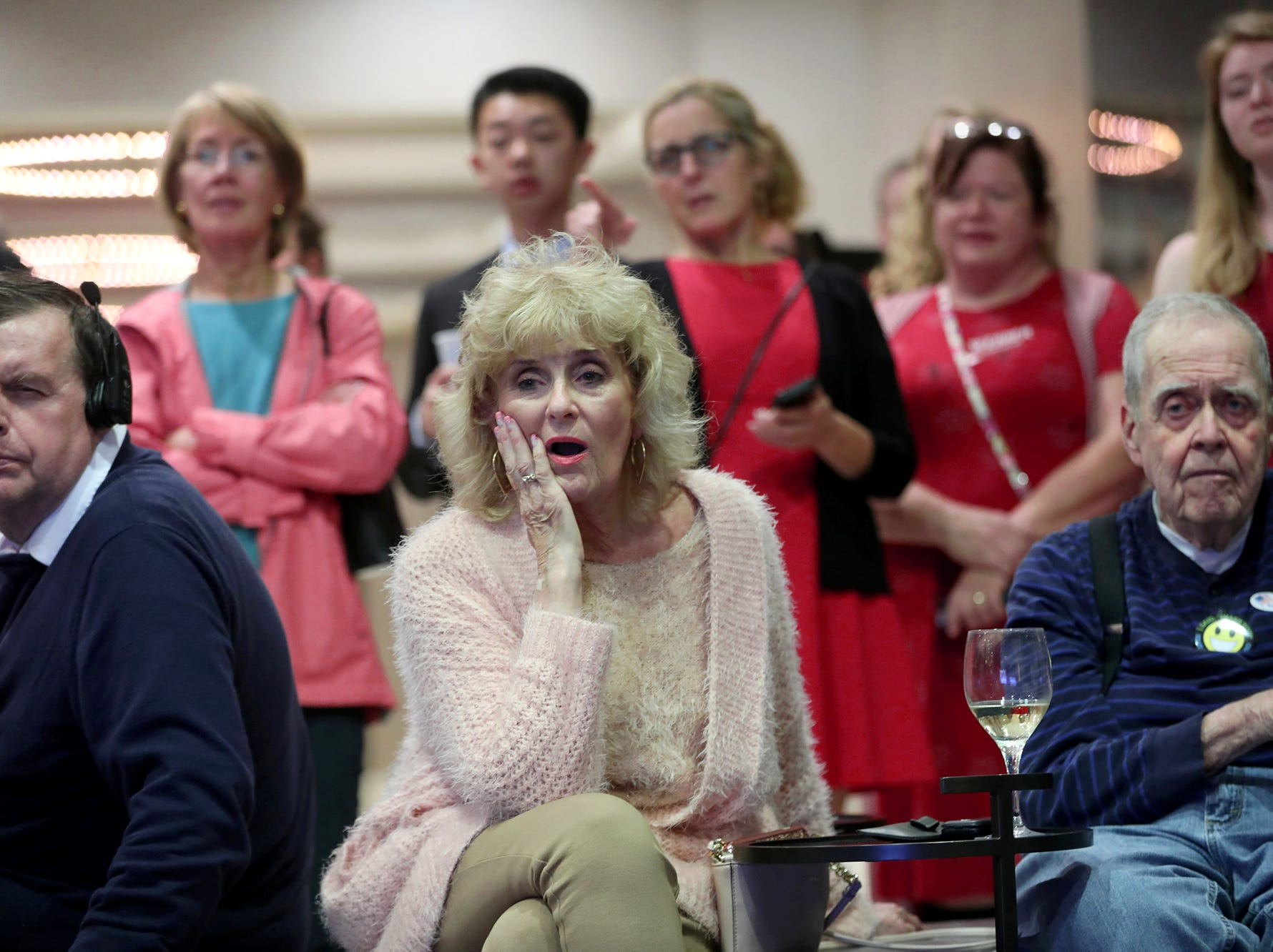 Darlene Rasmusson, of Bedminster, and other Republicans react as they hear Bob Menendez won his race for senator. Tuesday, November 6, 2018