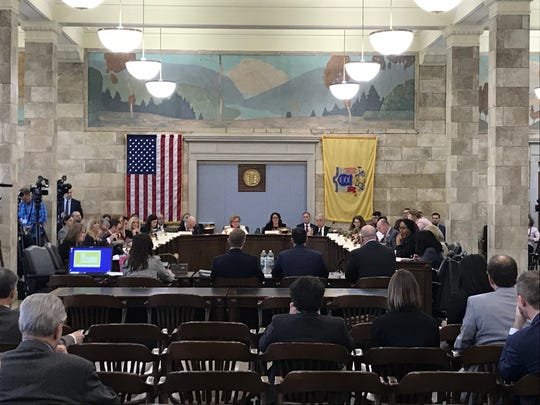 Lawmakers on the Legislative Select Oversight Committee listen to testimony from top aides for Gov. Phil Murphy in the Statehouse on Dec. 18, 2018.