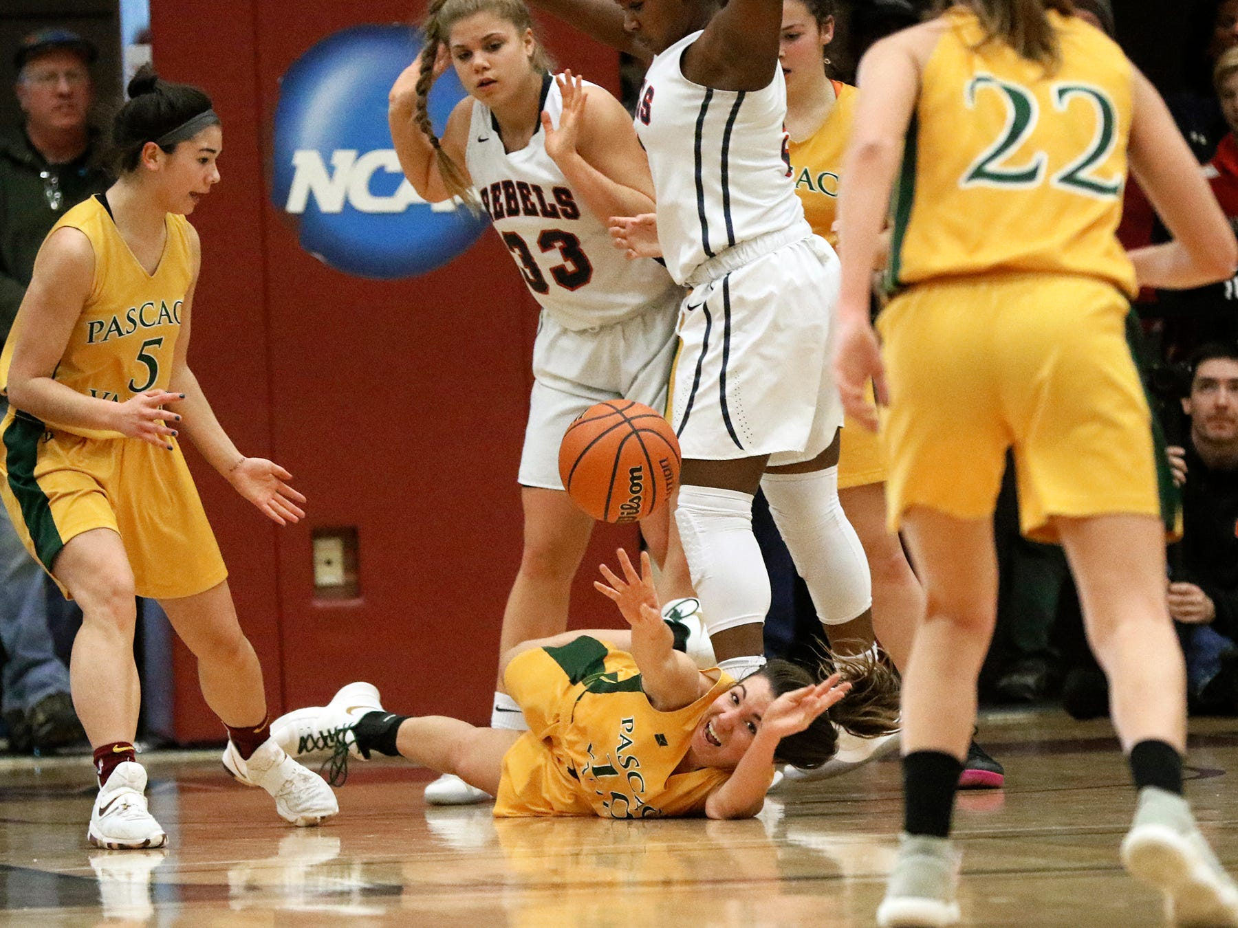 Toriana Tabasco of Pascack Valley, tries to keep the ball away from Saddle River Day School.  Valley came up short as the Rebels won, 60-55, for the Bergen County Women Coaches Association Championship, in Mahwah, Sunday February 18, 2018.
