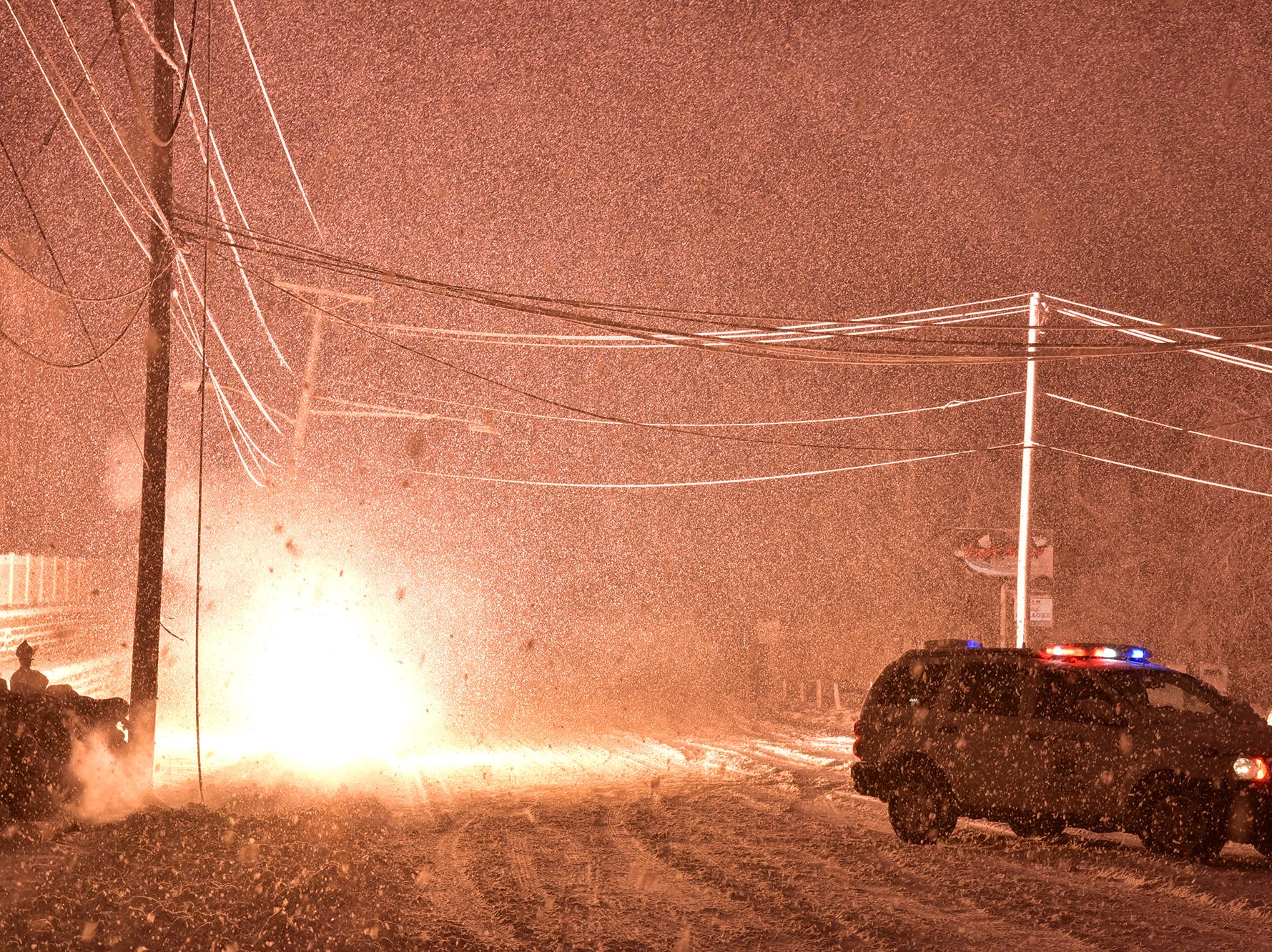 WEATHER: Downed electrical wires and blizzard condition closed Bergen Boulevard in Ridgefield Park in the late afternoon hours.