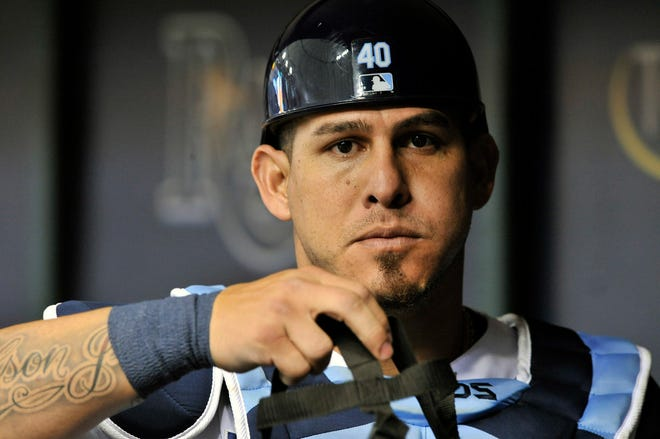 Tampa Bay Rays catcher Wilson Ramos heads for the field during a baseball game against the Detroit Tigers, in St. Petersburg, Fla. The New York Mets have agreed to a $19.5 million, two-year contract with Ramos, according to a person familiar with the negotiations. The Mets will turn to the two-time All-Star, who is coming off a strong year with the Tampa Bay Rays and Philadelphia Phillies. The person spoke to The Associated Press on condition of anonymity Sunday, Dec. 16, 2018 because the deal has not been announced and is still pending a physical.