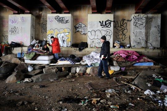 A homeless encampment under a bridge in Bergen County.