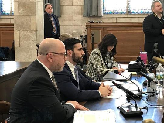 Justin Braz, chief of staff for legislative affairs for Gov. Phil Murphy, second from left, testifies in front of the Legislative Select Oversight Committee on Dec. 18, 2018.