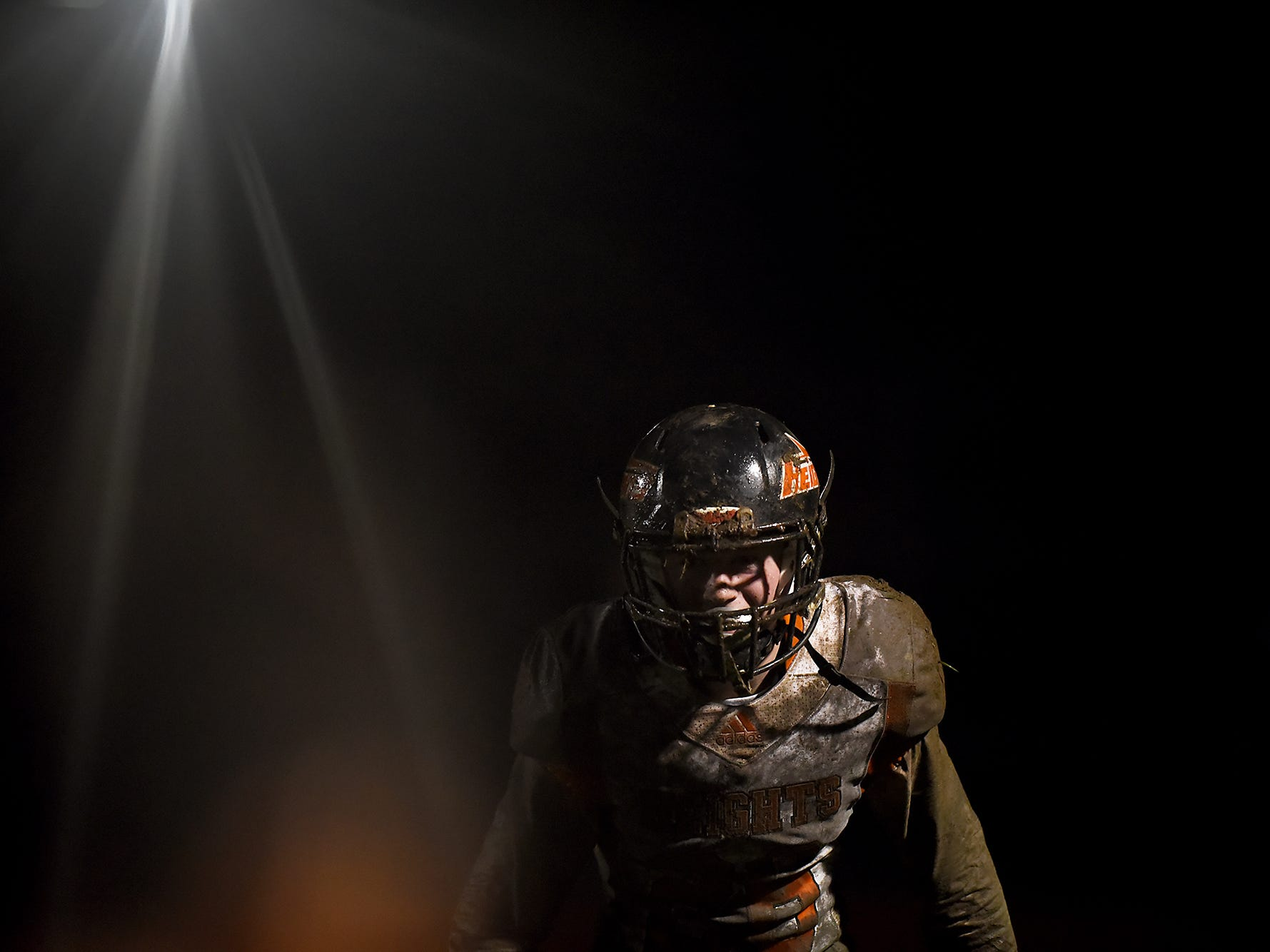 Hasbrouck Heights palyer #26 Michael Robertson runs off the field after his team won the football game between Butler and Hasbrouck Heights in Butler, NJ on Friday September 28, 2018.