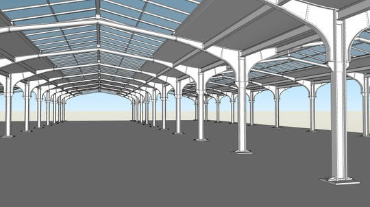 A rendering of the historic steel butterfly supports that form the historic train sheds at Lackawanna station, including the skylights added during the 1980s.