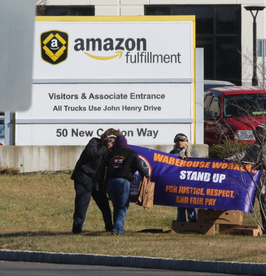 Labor Advocates Protest Outside The Amazon Fulfillment Warehouse In Robbinsville New Jersey On December 18 2018 To Demand Better Protections For Those Working In Amazon Warehouses