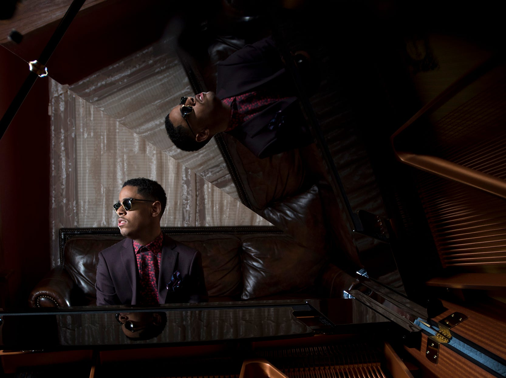 Matthew Whitaker, a teen-age piano prodigy from Hackensack, NJ is making quite a splash on TV and in concert venues worldwide. Whitaker plays the piano at his home on Friday February 16, 2018.