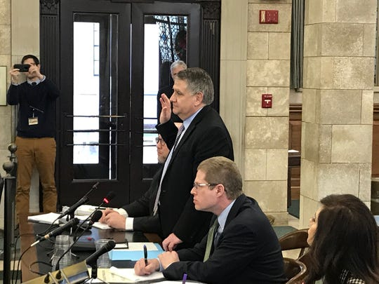 Peter Cammarano, Gov. Phil Murphy's chief of staff, is sworn in ahead of his testimony in front of the Legislative Select Oversight Committee on Dec. 18, 2018.