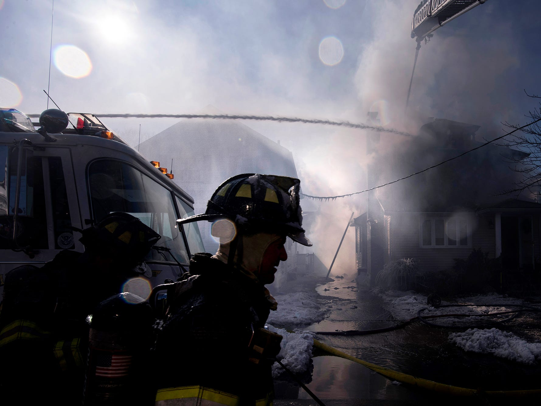 House fire on Page Ave. in Lyndhurst on Saturday, January 6, 2018. KARASPOY2018