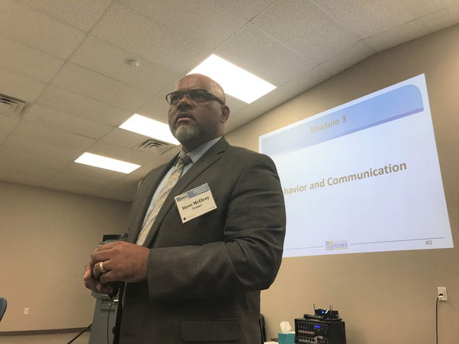 Steve McElroy, Director of Safety and Security for Columbus City Schools in Ohio. McElroy was one of four speakers during last week's training.