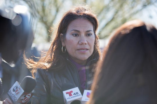 Congresswoman-elect Veronica Escobar, D-Texas, takes questions from news media outside the Border Patrol station in Lordsburg, New Mexico on Tuesday, Dec. 18, 2018. Escobar was one of the members of the Congressional Hispanic Caucus touring the station in response to the death of Jakelin Amei Rosmery Caal Maquin.